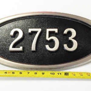 Gaines Large Address Plaque Pewter Finish