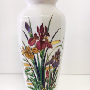 White with Gold Trim Asian Octagon Vase