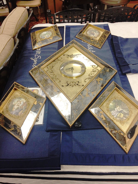 1954 Antique Wall Hangings Diamond Shaped Mirrored 5 pieces With Clock