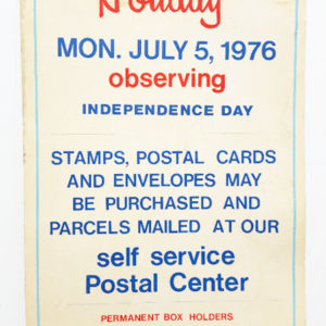 1976 Bicentennial Philadelphia Post Office Holiday Observance Poster