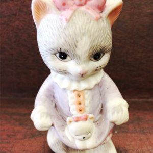1993 BC Bronson Collectibles Sri Lanka Porcelain Bisque Girl Cat