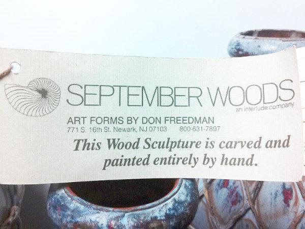 3 September Woods Napa Valley Decanter Wood Sculptures