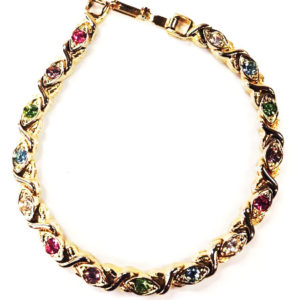 7 inch Gold tone bracelet with 15 multi-color stones