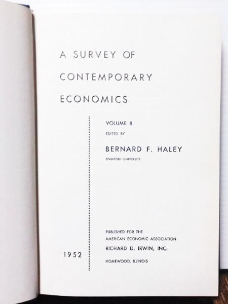 A Survey of Contemporary Economics Volume II
