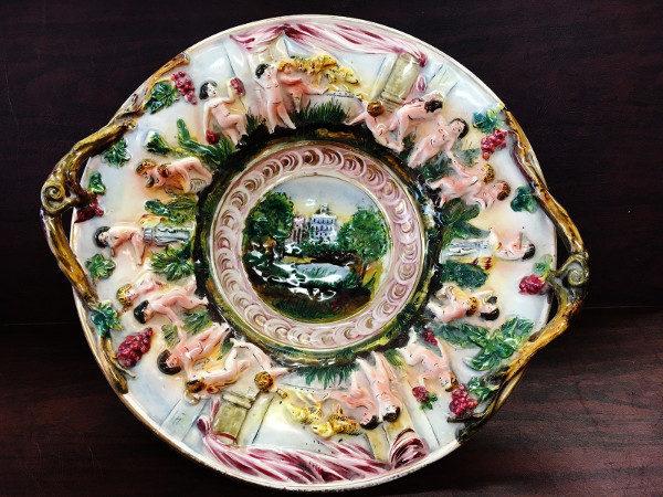 Antique Capodimonte Cherub Centerpiece Bowl made in Taube