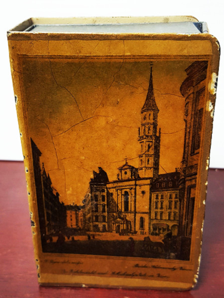 Antique Vintage Painted Metal Matchbox Holder