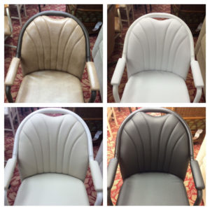Casual Swivel Tilt Caster Dining Chair with Upholstered Arms