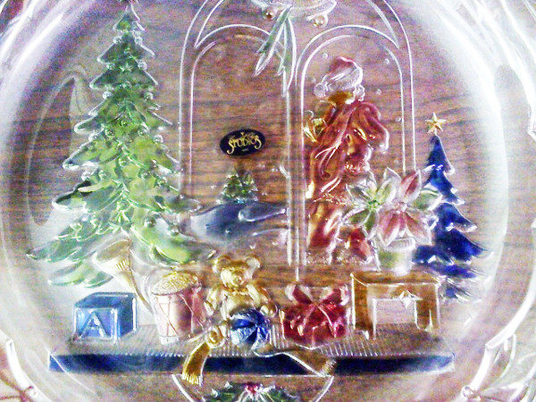 Christmas Joy 14 inch Hand Painted Glass Plate