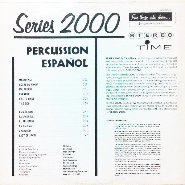 Percussion Espanol 1960 Time Records